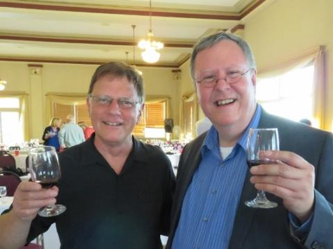 Pacific Northwest wine expert Paul Gregutt and PCMS Executive Director Bruce Ehrle celebrate the wines of Oregon and Washington