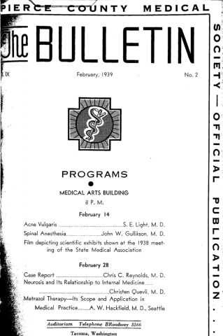 Cover image for PCMS Bulletin 1939