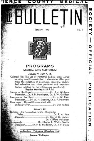 Cover image for PCMS Bulletin 1940